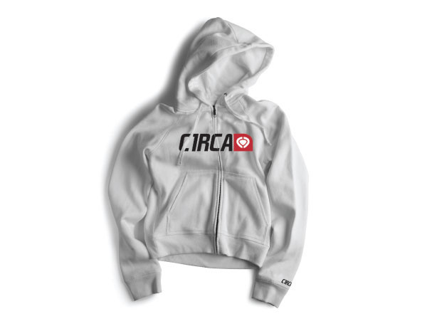 C1rca Corp Logo White Ανδρικό Φούτερ Φερμουάρ