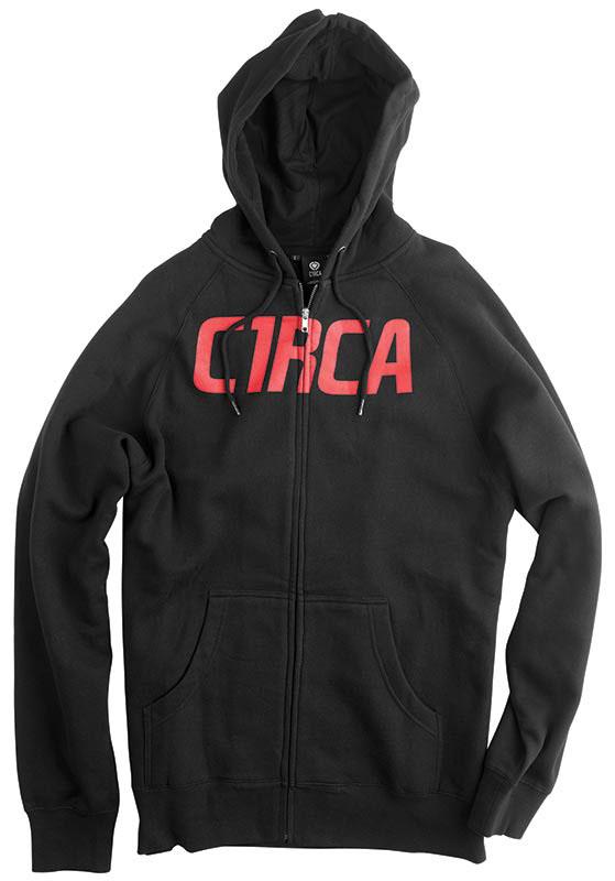 C1rca Mainline Font Black/Red Men's Zip Hood