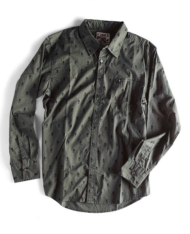 C1rca Skull Repeat Olive L/S Men's Shirt