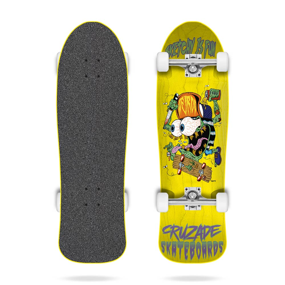 Cruzade Sketchy Is Fun Yellow 9.0 Complete Skateboard