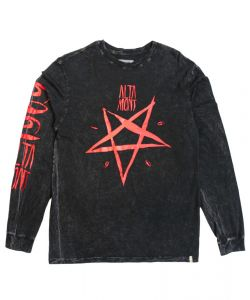 Altamont Pentagram Wash Black/Red  Men's Long Sleeve T-Shirt