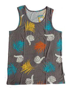 Bro Style  Tropik Print Charcoal Ανδρικό Αμάνικο