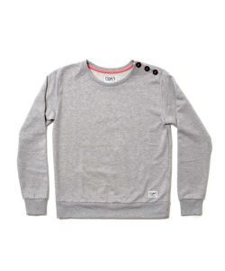Colour Wear Button Crew Grey Melange Women's Top