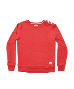 Colour Wear Button Crew Red Women's Crew