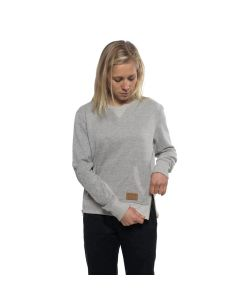 Colour Wear Zip Grey Melange Women's Crew