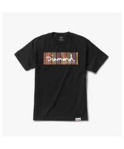 Diamond Color Ply Box Logo Black Men's T-Shirt