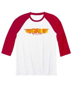 GIRL BA WINGS 3/4  WHITE RED RAGLAN