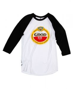 GOODBIE GHETTO BREW LTD  3/4 WHITE/BLACK RAGLAN