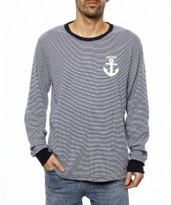 Goodbie Mermaid Anchor Stripe Men's Long Sleeve T-Shirt