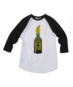 GOODBIE RIOT LIQUOR LTD  3/4 BLACK/WHITE RAGLAN