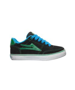 LAKAI ENCINO BLACK/GREEN KIDS SHOES