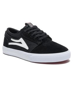 LAKAI GRIFFIN BLACK/WHITE SUEDE KIDS SHOES