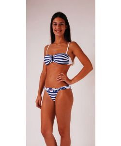 LIGHTNING BOLT BLUE OCEAN STRIPES V STRAPLESS SURF THE WEB ΜΠΙΚΙΝΙ
