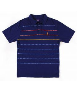 Lightning Bolt Engineered Stripe Estate Blue Men's Polo