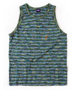 Lightning Bolt Mirror Tricolor Stripe Pocket Ice Green Men's Tank