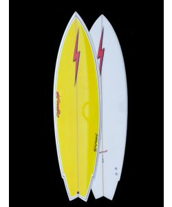 LIGHTNING BOLT TWIN FIN 62 YELLOW WHITE SURFBOARD