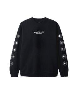 Macba Life Full Logo Crew Black Ανδρικό Φούτερ Κουκούλα