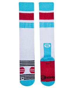 STINKY STRIPE WHITE BLUE RED SNOW SOCKS