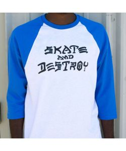 THRASHER 3/4 SKATE AND DESTROY WHITE BLUE RAGLAN
