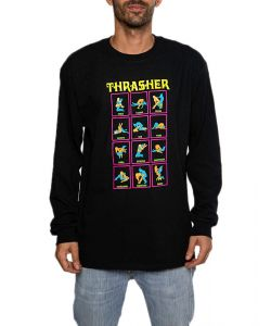 Thrasher Black Light Black Men's Long Sleeve T-Shirt