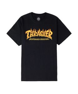 Thrasher Fire Logo Black Ανδρικό T-Shirt
