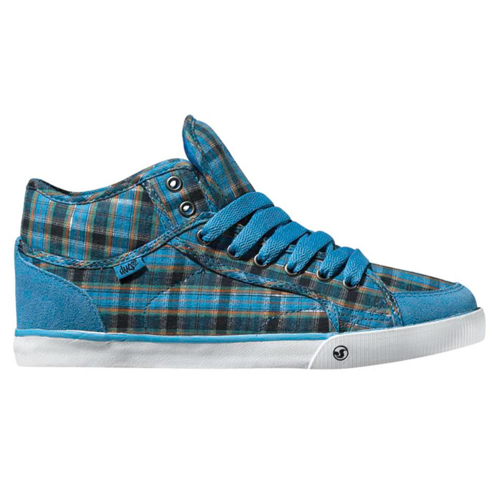 DVS Rana Mid Blue Plaid Canvas Women's Shoes