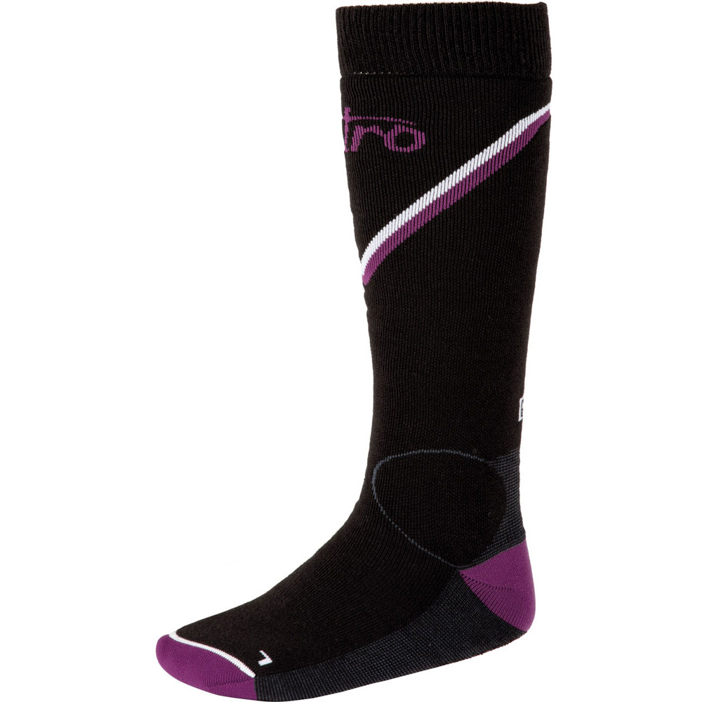 Nitro Monarch Black Grey Purple White Women's Snow Socks