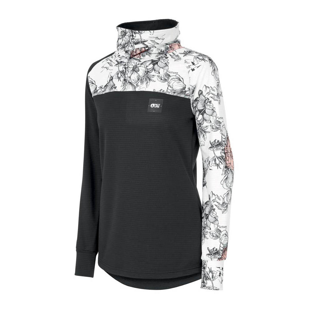 Picture Blossom Grid Peonies Black Women's Midlayer